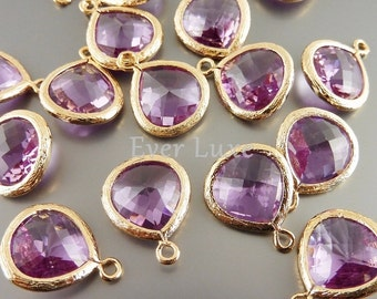 2 lavender purple 13mm glass teardrops with gold bezel frame pendants, jewelry making 5064G-LA-13 (bright gold, lavender, 13mm, 2 pieces)