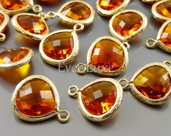 2 amber orange 13mm glass pendants, teardrops with bezel frame, glass charms, diy jewelry 5064G-AB-13 (bright gold, amber, 13mm, 2 pieces)
