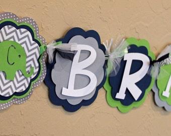 "Elephant Lime Green Navy Blue Gray Chevron Stripe Polka Dot ""NAME"" Banner Boy Baby Shower Birthday Party Decorations Room Decor PaisleyGreer"
