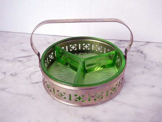 Green Relish Server // Divided With Pierced Metal Basket