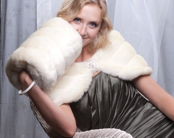 "10"" wide Bridal winter wedding faux fur custom wrap shawl and Super Size muff set shrug & handwarmer"