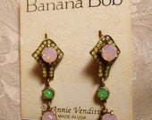 Vintage Banana Bob Art Deco Style Opal Earrings Pink & Mint Green Opal Swarovski Crystals