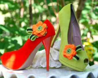 Shoe Clips Tangerine & Lime Flower. Bright Fun Orange. Bridal Bridesmaid Statement Gift Idea, Teen Women Handmade Shoe Clips. Spring Couture