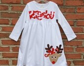 Girls Custom Appliqued Reindeer Knit Dress...Ready for Delivery...Available in Size 12m, 18M, 2, 4 and 6