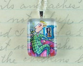 The Martini Man -  Upcycled Postage Stamp Jewelry/Jewellery, Sterling Silver Chain