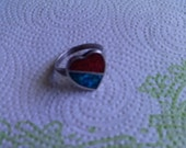 free shipping heart turquoise red coral Native Indain ring sterling silver
