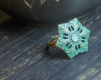 The Night Blossom Ring. Absinthe Verdigris green Star blossom rustic ring