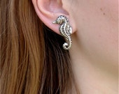 Antique Sterling Silver Seahorse Earrings