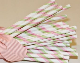Paper Straws, Made In USA, 25 Pink and Green Striped Paper Straws, Princess Party, Baby Shower, Wedding,  Pink Lemonade Party, Baby Shower