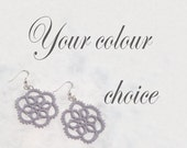 Tatted Flower Earrings - Your choice of colour - Aster