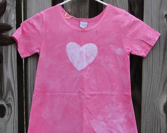 Pink Girls Dress, Girls Easter Dress, Pink Easter Dress, Pink Heart Dress, Batik Girls Dress, Girls Heart Dress, Short Sleeve Dress (6) SALE