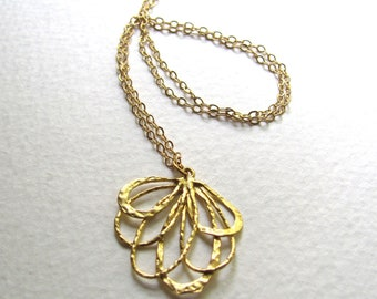 Abstract gold blossom pendant necklace on delicate 14k gold fill chain
