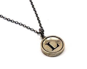 Letter L Necklace - White Bronze Initial Typewriter Key Charm Necklace - Gwen Delicious Jewelry Design