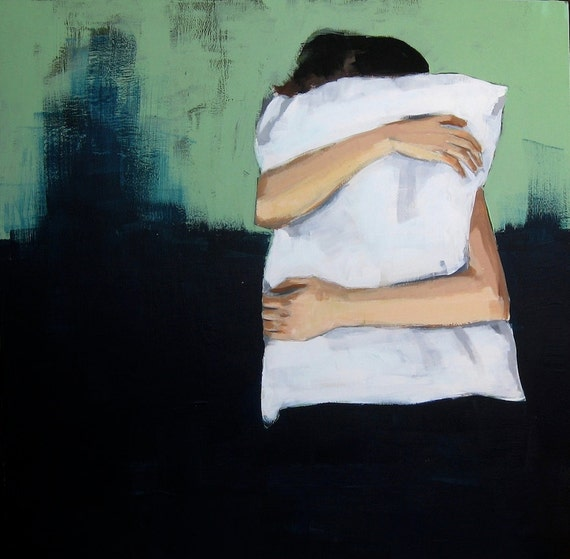 So Cozy . giclee art print of girl hugging pillow