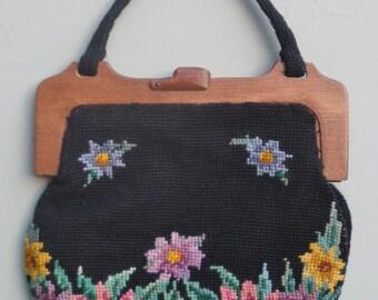 Vintage 30s Needlepoint Purse Bag Handbag Handmade Tapestry Floral Design Black Wool Wooden Frame 1930s Art Deco