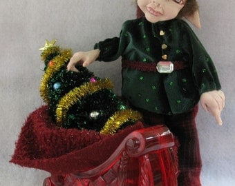 Yule Elf with Red Sleigh and Christmas Tree OOAK Fairies Sculpture Artdoll Gift Home Decor