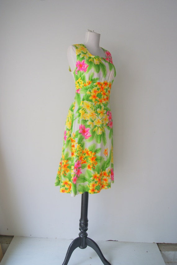 Vintage Floral Hawaiin Neon Dress
