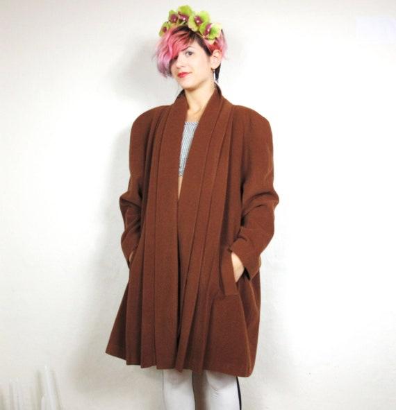 80s Cinnamon Draped Swing Winter Coat  (L/XL)