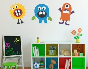 Monster Decal Vinyl Wall Art - Set of 3 - Children Wall Decals - Group 1