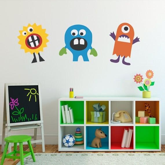Monster Decal Vinyl Wall Art - Set of 3 - Children Wall Decals - Group 1