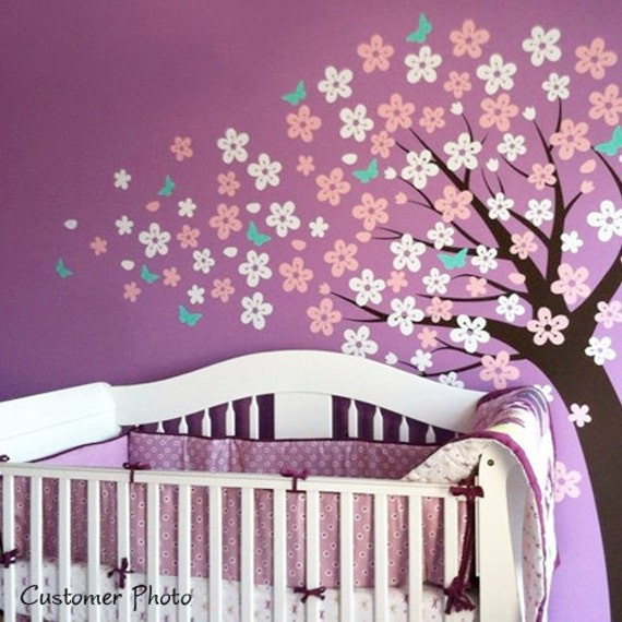 Tree Wall Decal - Blowing Cherry Blossom Tree with Butterflies Nursery Decals