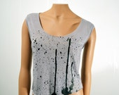 SALE Black Ink Drips Crop Top Sheer Grey Women's Small