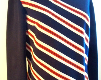vintage 60s  double knit a-line navy with diagonal striped shift  size large