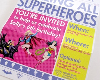 GIRLS Superhero Newspaper Custom PRINTABLE Birthday Invitation
