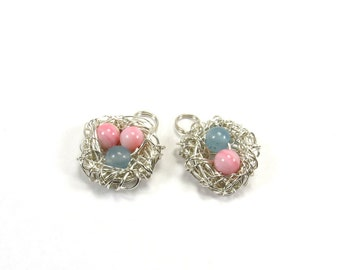 Birds nest pendant, Sterling silver wire nest charm, Custom Mothers day pendant