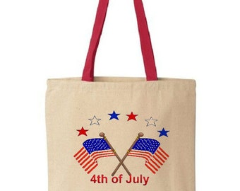 4th of July Tote Bag - Cotton Canvas Tote Bag - Gift Bags - Red
