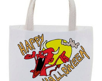 Halloween Favor Bags - Cotton Canvas Tote Bag - Mini Tote Bags - Goody Bags - Set of 4