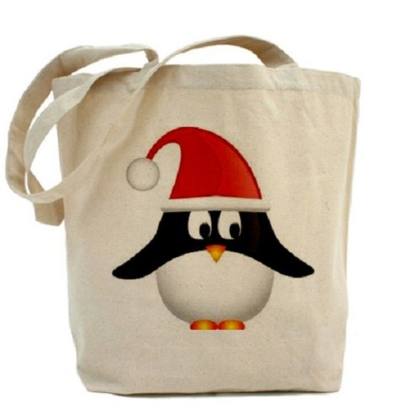 Cotton canvas tote bag christmas penguin gift bags