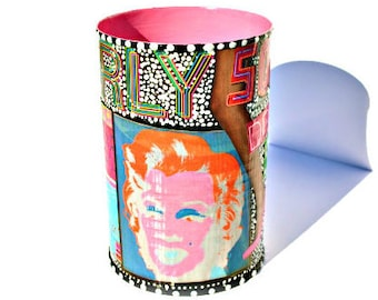 "Upcycled Warhol Art Canister - Hand-Painted Recycled Decoupage Decor Marilyn Monroe Tin - ""Iconic Love"""