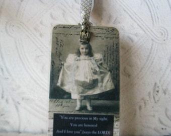 Princess Bookmark - Isaiah 43 Laminated Bookmark- Precious in His Sight Bookmark - 1 Crown Adorned Bookmark