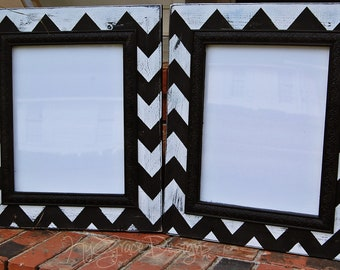 Set of two 11x14 Chevron painted frames in color of your choosing