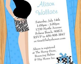 Blue Tummy Baby Shower Invitation - Print Yourself