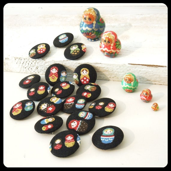 4 Matryoshka Fabric Pin Badges