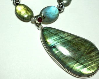 Labradorite Pendant and Necklace with Sterling AAA Quality Very Flashy Labradorite Pendant w Faceted Labradorite Beads w Sterling Toggle