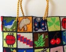 60s 70s 80s purse handmade OOAK Peace Love ipad tablet tote  OOAK Cherries Bluebirds multicolor