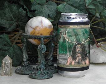 Wrap Beverage Insulator with Cernunnos Art