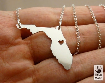 Florida State Map Handmade Personalized Sterling Silver .925 Necklace in a gift box
