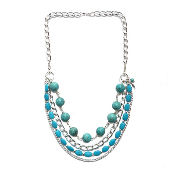 Turquoise and Silver Chain Bib Necklace