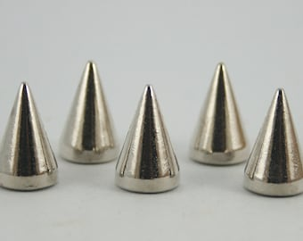5 sets. Silver Cone Spikes Screwback Studs Leathercraft Decorations Findings 10 mm. JLScCN1015