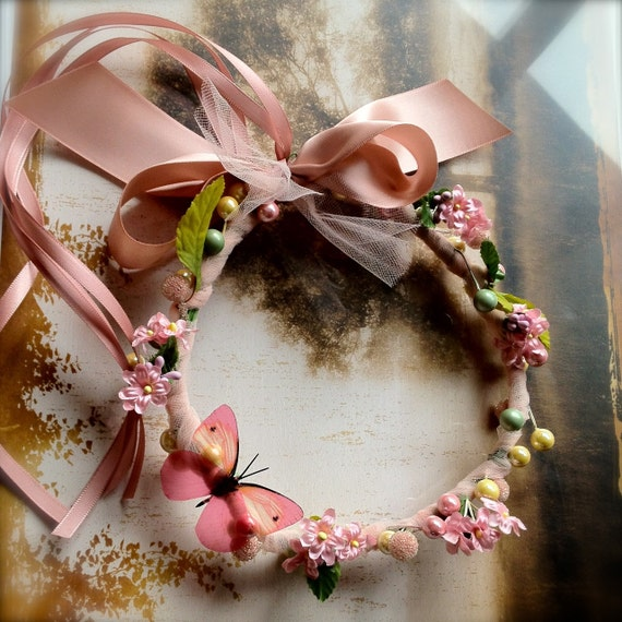 Butterfly floral wreath for Flower Girls, birthdays, fairies and ballerinas. Photo prop. Choice of colors.