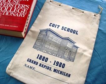 Coit School Oilcloth Bookbag, Grand Rapids, Michigan 1880-1980