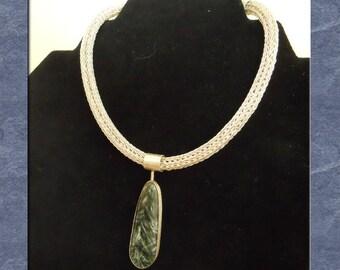 Loop in Loop Chain Necklace Seraphinite Pendant Fine Silver Etruscan Roman Green Choker Statement  (FSN-108)