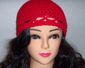 Red Crochet Beanie, Red Winter Hat
