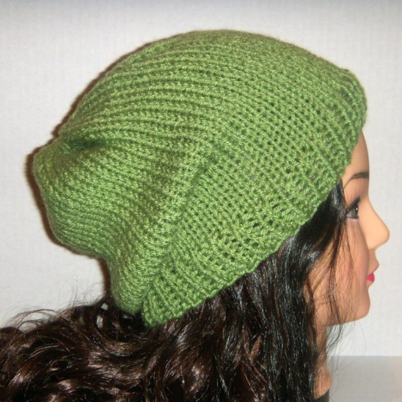Hipster Hat Knitting Pattern : Green Knit Hat in Leaf Green Knit Slouchy Hipster by CrochetKnit30