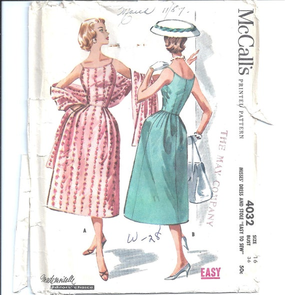 1950s Womens Dress and Stole - McCalls 4032 Vintage Pattern - Bust 36 Size 16