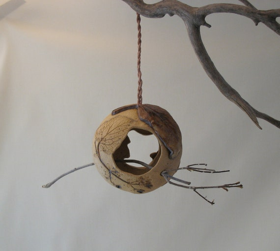 Mini Hanging Clay Bird Feeder - 2 Sided - Using Real Leaves - Removable Stick Perch - Ornament
